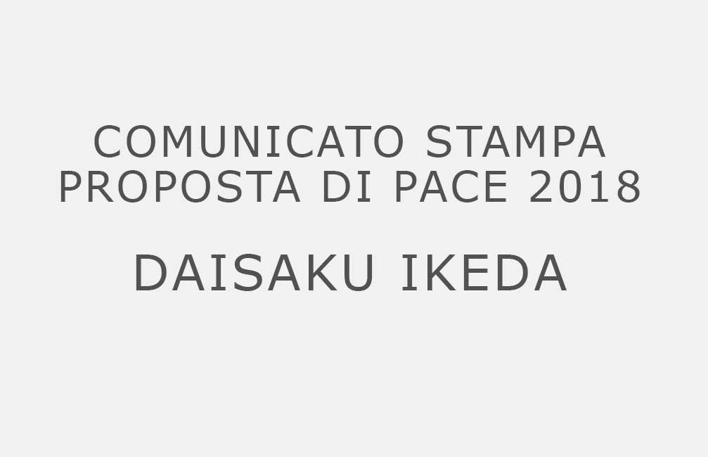 Proposta di Pace 2018. Comunicato Stampa