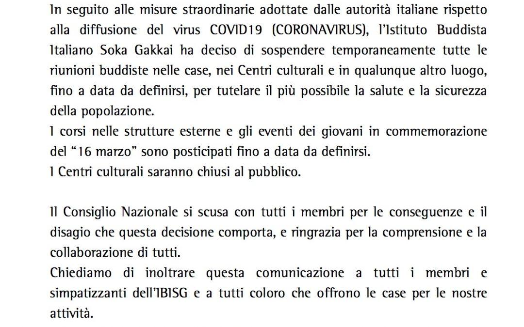 Coronavirus. Comunicato del Consiglio Nazionale Istituto Buddista Italiano Soka Gakkai
