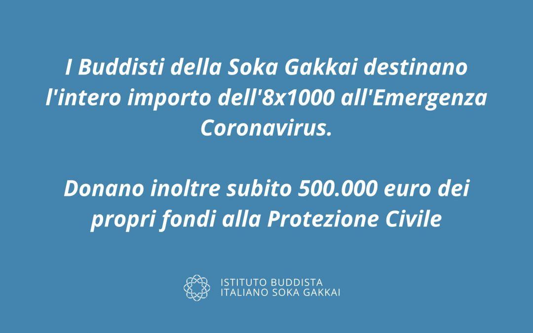 L'8xmille della Soka Gakkai  e 500mila euro subito per l'emergenza Coronavirus
