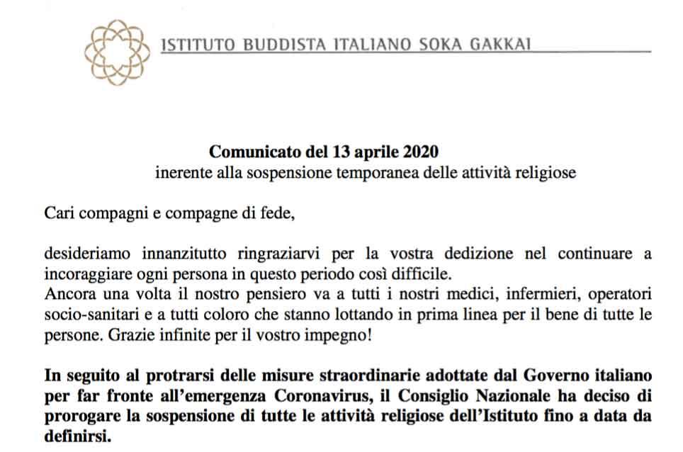 Comunicato del 13 aprile 2020 inerente alla sospensione temporanea delle attività religiose