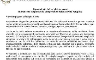 Comunicato del 22 giugno 2020 inerente la sospensione temporanea delle attività religiose