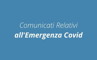 Comunicati Relativi all'Emergenza Covid