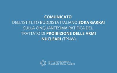 50esima ratifica del Trattato di Proibizione delle Armi Nucleari. Comunicato dell'Istituto